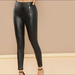Shinestar Black Leggings with Front Leather Panel